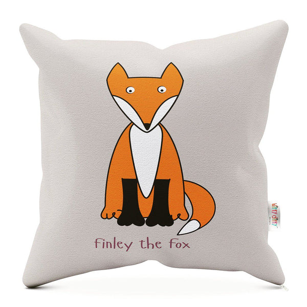 grey childrens cushion with an orange fox printed on it