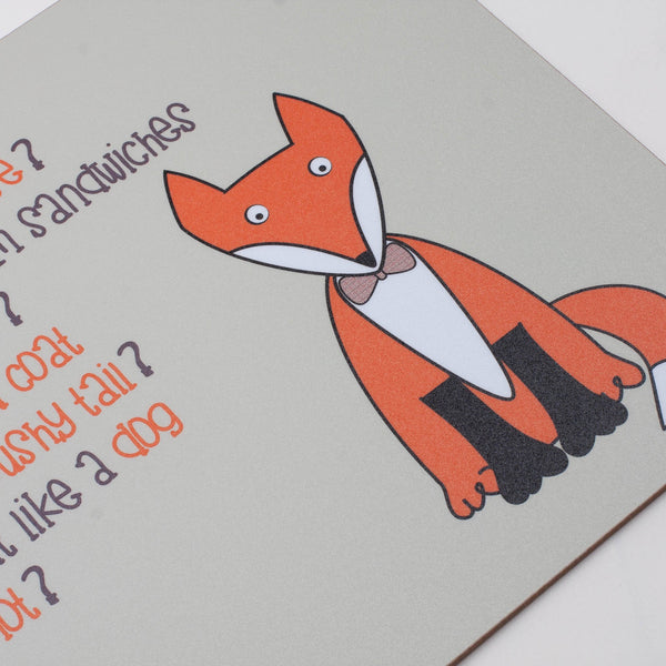childrens grey dinner placemat and coaster set with a fox and a poem about a fox printed on them