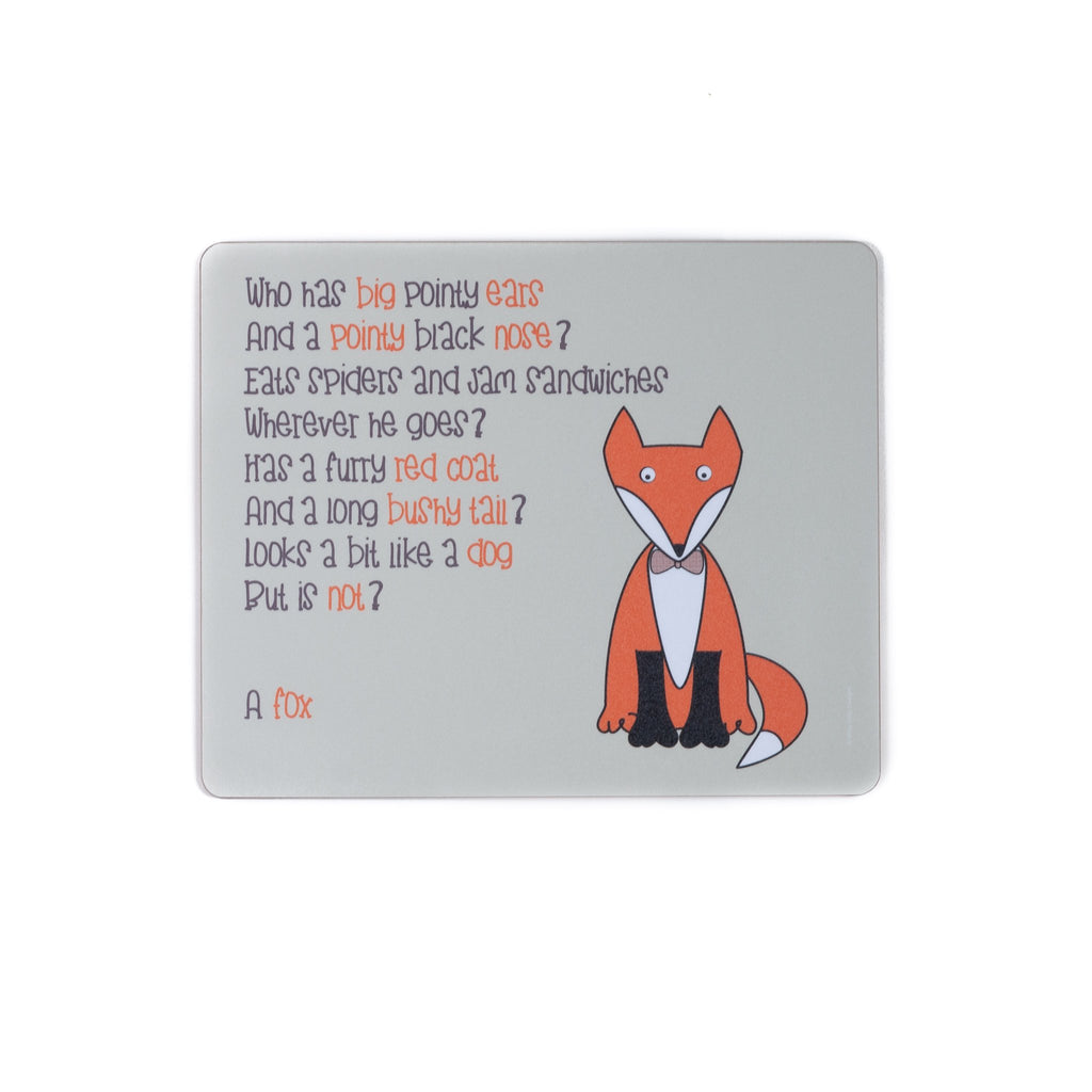 childrens grey dinner placemat with a fox and a poem about a fox printed on it