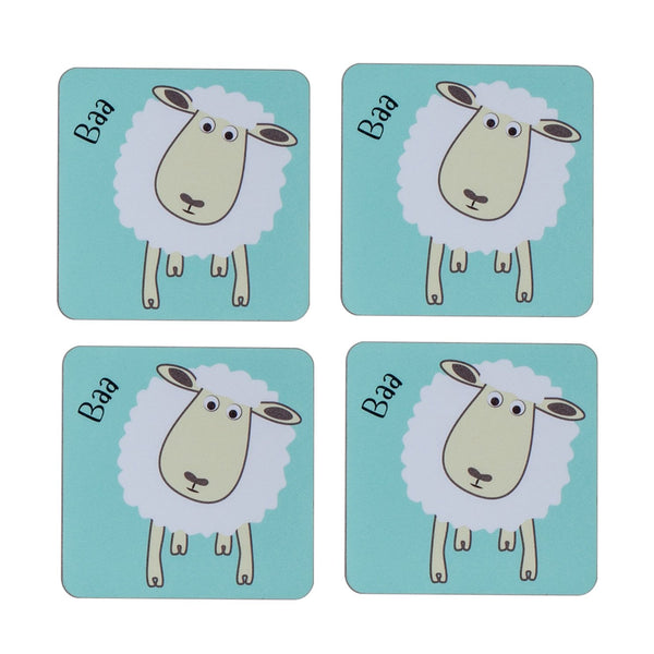four piece childrens blue dining table coaster set with a sheep printed on it