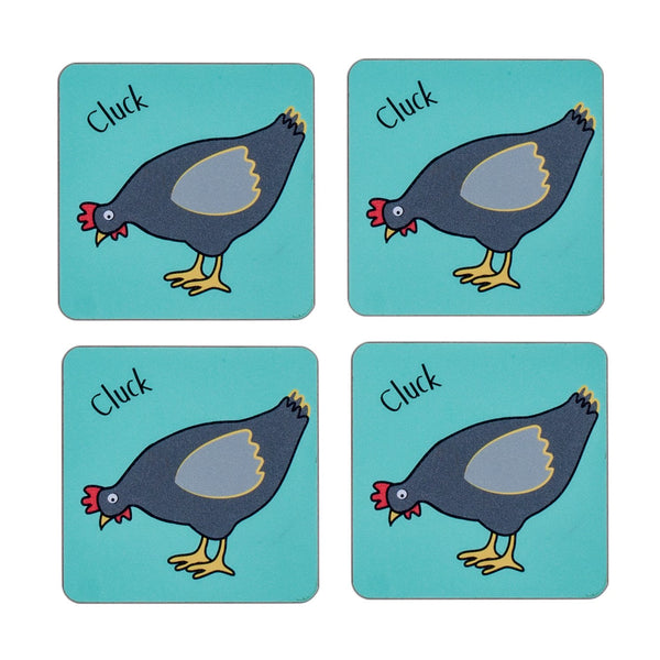 four piece childrens blue dining table coaster set with a chicken printed on it