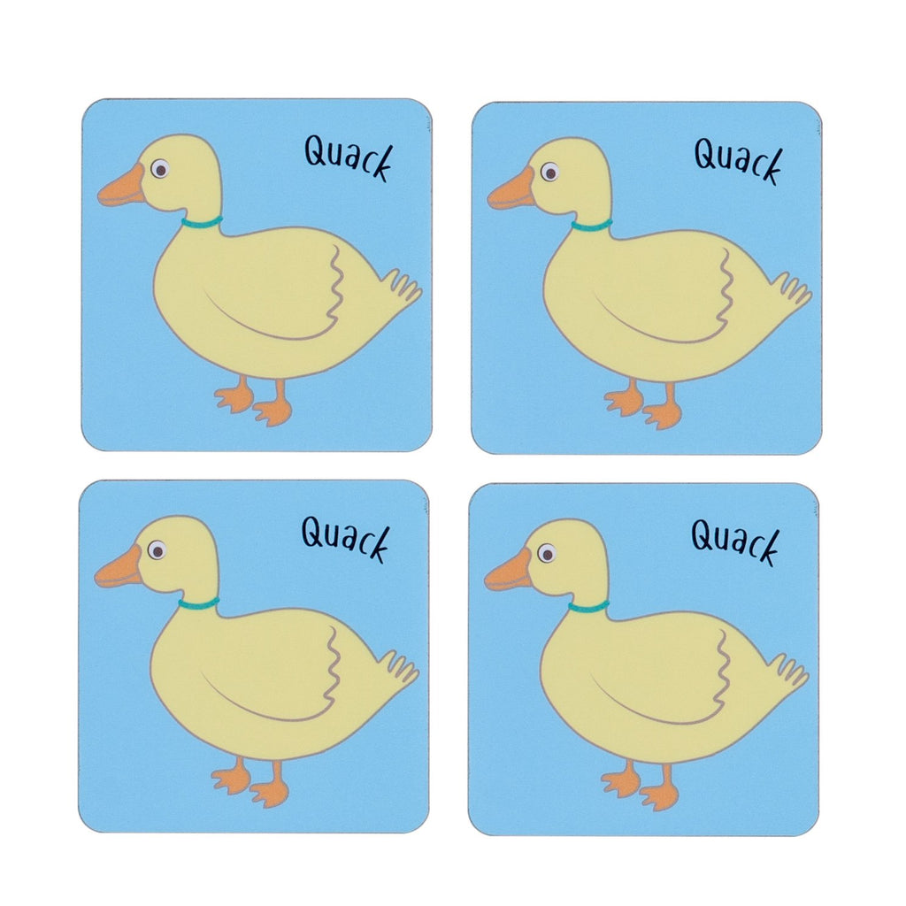 four piece childrens blue dining table coaster set with a duck printed on it