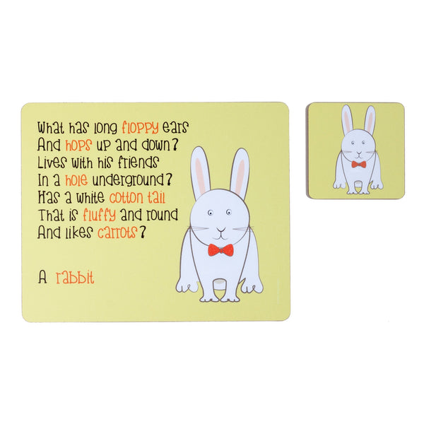 childrens yellow dinner placemat and coaster set with a rabbit and a poem about a rabbit printed on them