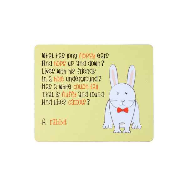 childrens yellow dinner placemat with a rabbit and a poem about a rabbiit printed on it