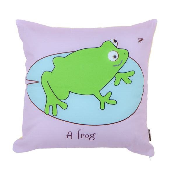 purple childrens cushion with a green frog sitting in a pond