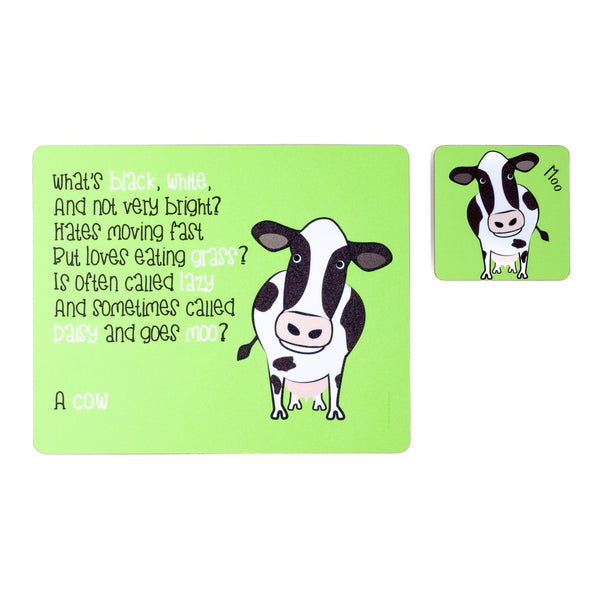 childrens green dinner placemat and coaster set with a cow and a poem about a cow printed on them