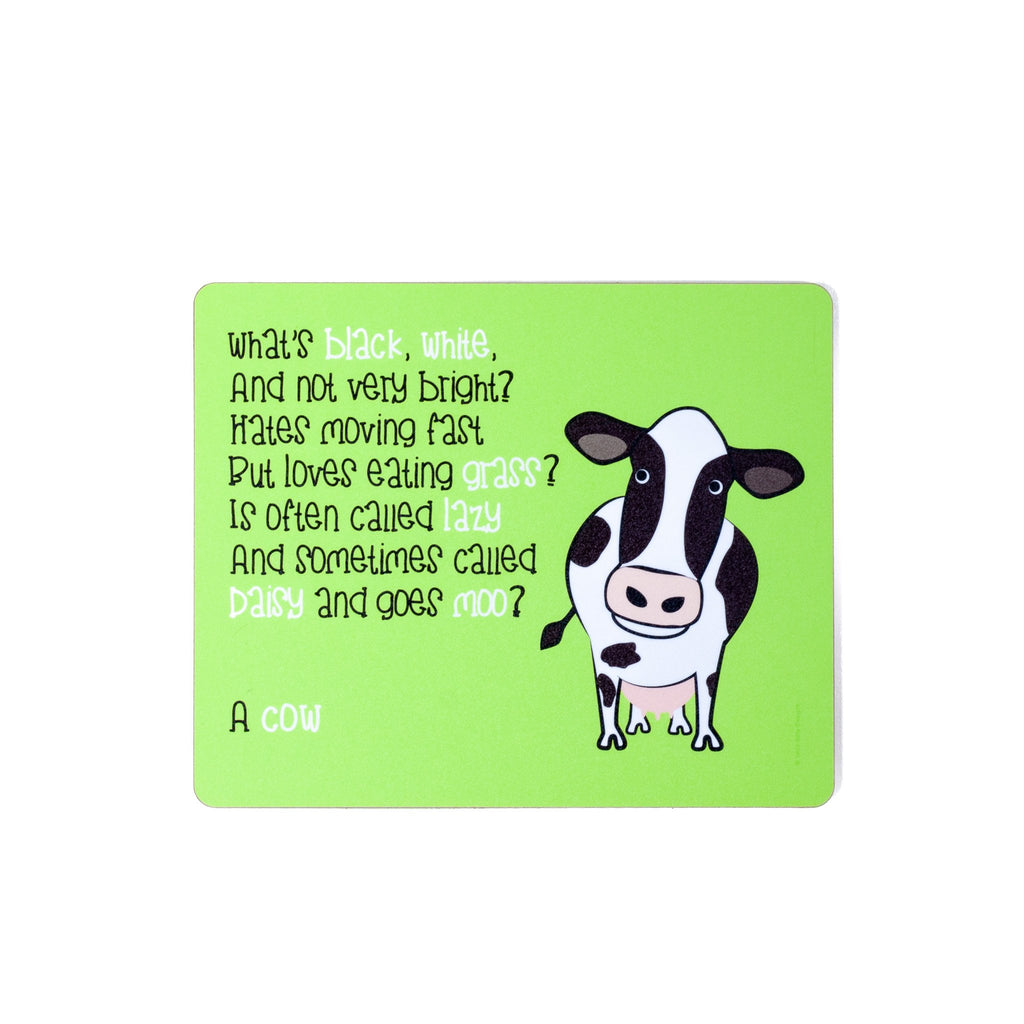 childrens green dinner placemat with a cow and a poem about a cow printed on it