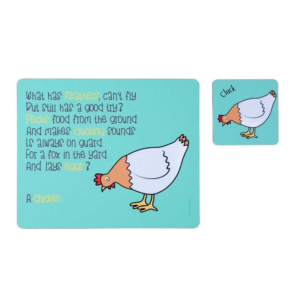 childrens blue dinner placemat and coaster set with a chicken and a poem about a chicken printed on them