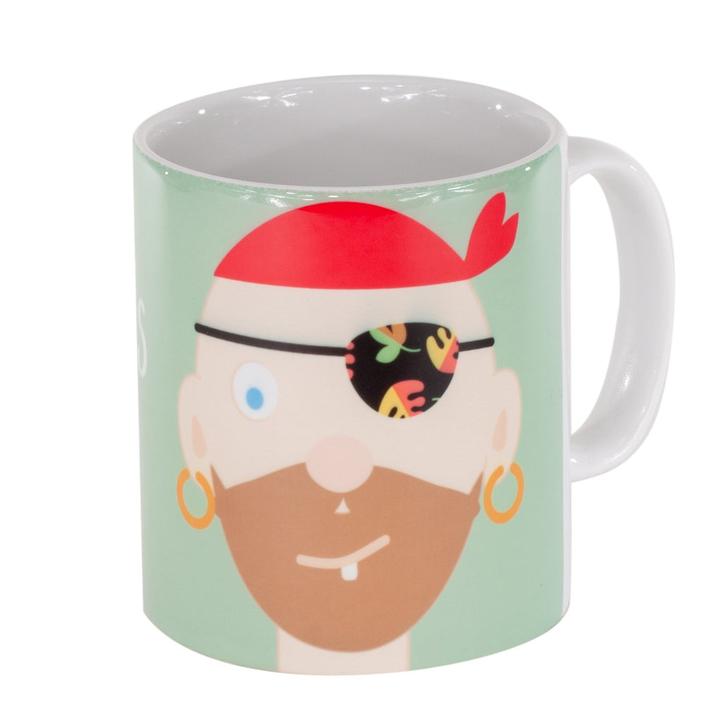 childrens green mug with a boy pirate printed on it