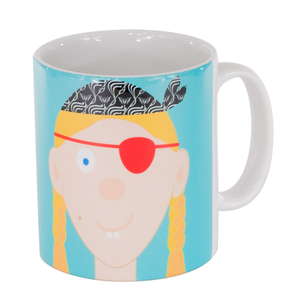 childrens blue mug with a girl pirate printed on it
