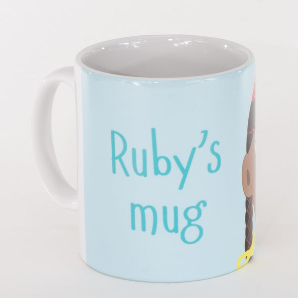 back of a personalised childrens blue mug with the words rubys mug printed on it