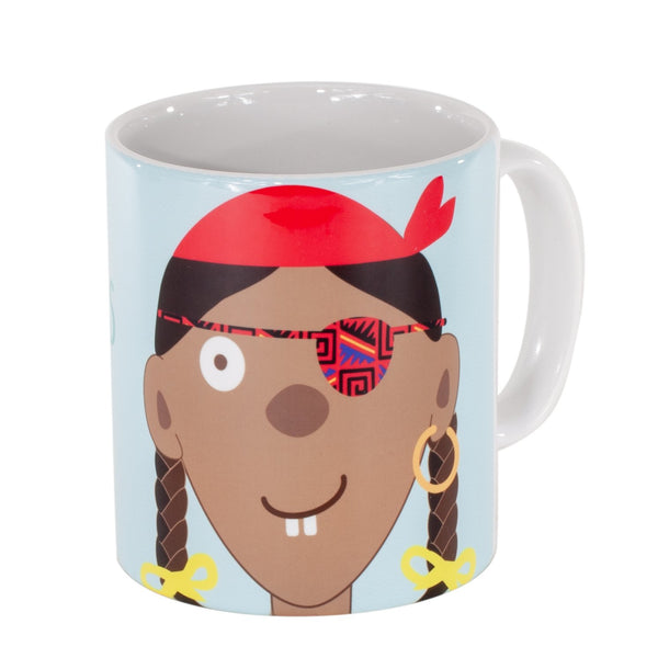 childrens light blue mug with a girl pirate printed on it