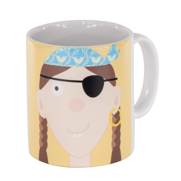 childrens yellow mug with a girl pirate printed on it