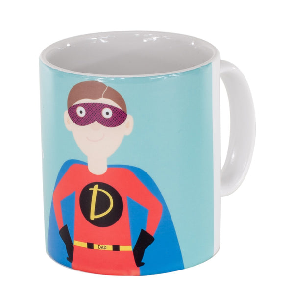 a mug printed with a picture of a dad in a superhero outfit