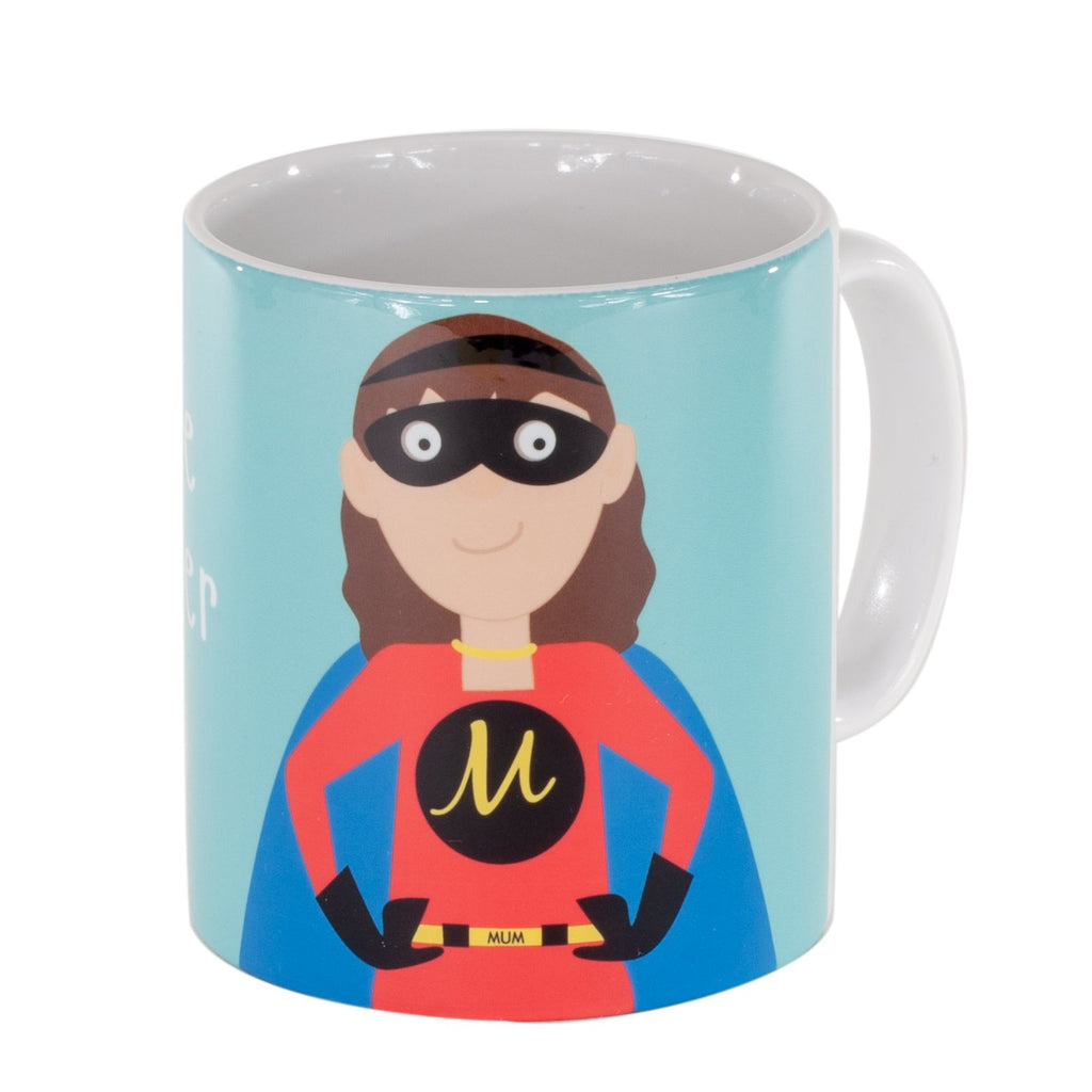 a light blue mug printed with a picture of a mum in a superhero outfit