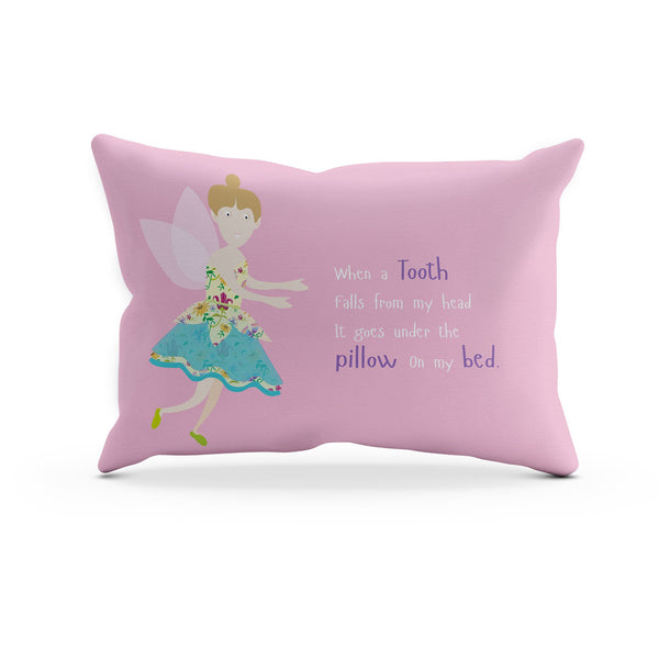 a pink pillowcase with a tooth fairy and a little poem about teeth falling out