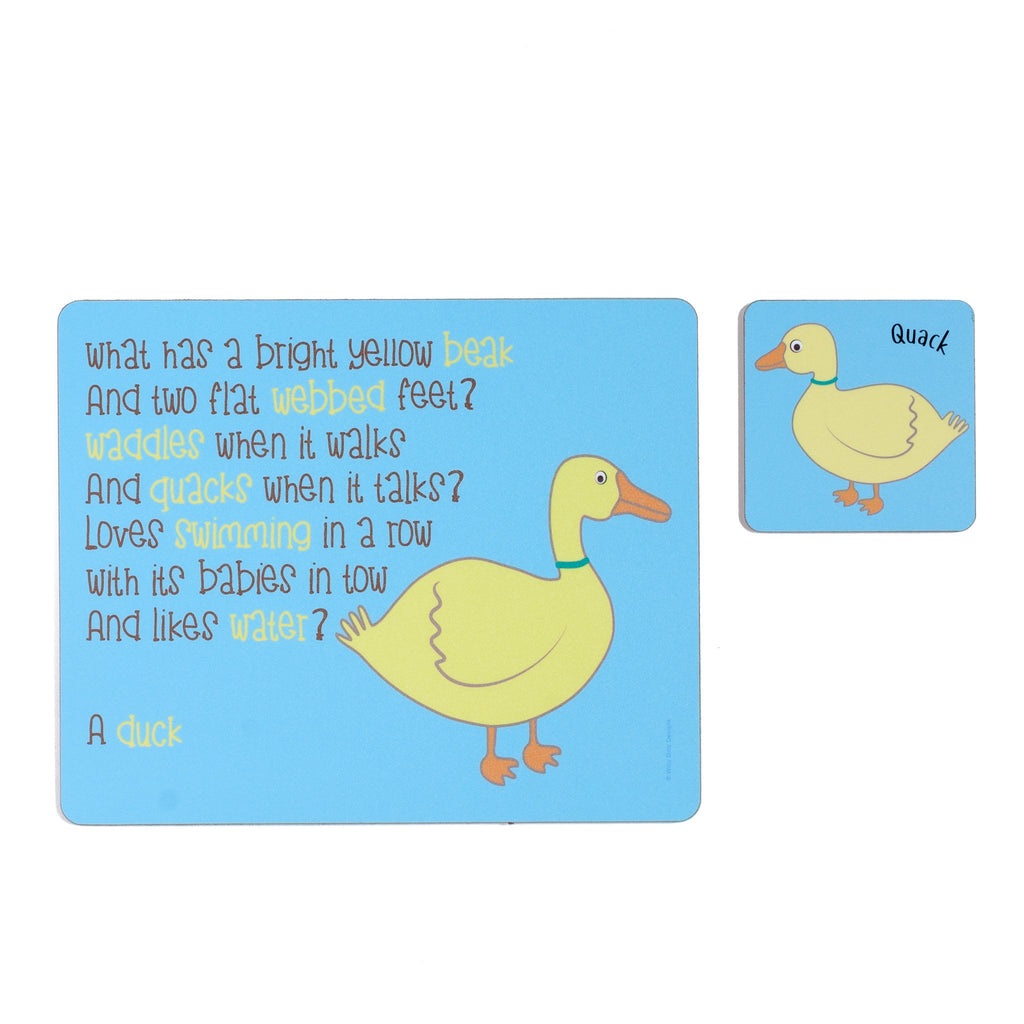 childrens blue dinner placemat and coaster set with a duck and a poem about a duck printed on them
