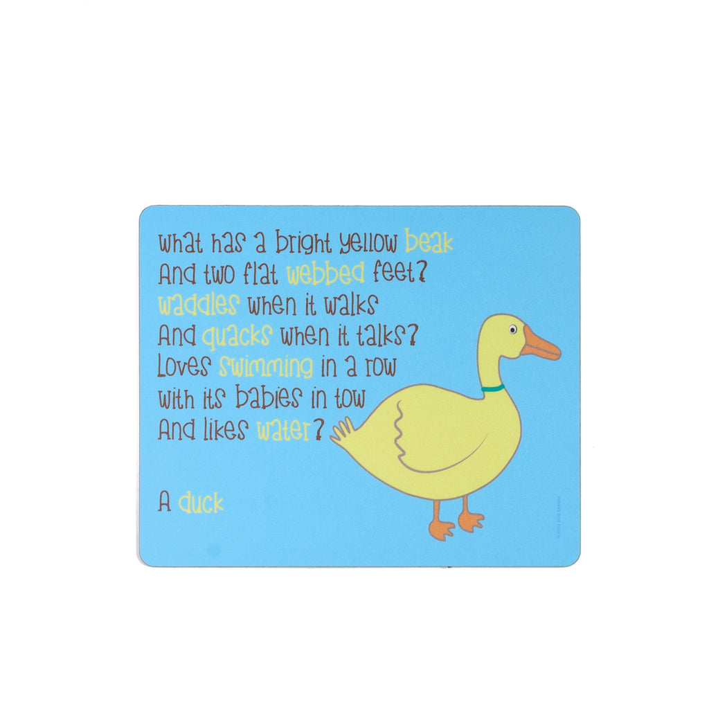 childrens blue dinner placemat with a duck and a poem about a duck printed on it