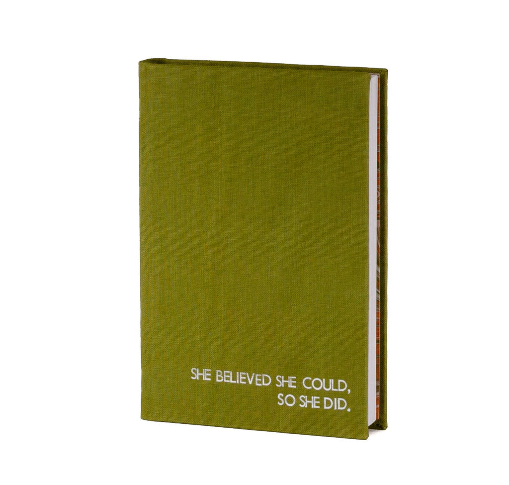 green coloured handmade A6 notebook with a feminist quote she believed she could so she did