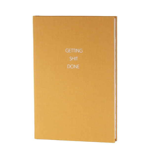 yellow covered handmade A5 notebook with feminist quote getting shit done