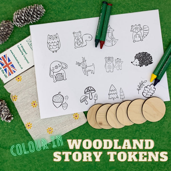 Woodland Colour-in Story Tokens