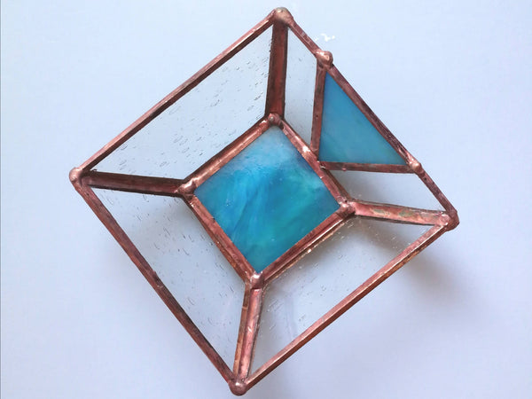 Mini Stained Glass Iridescent Azure Blue Trinket Dish