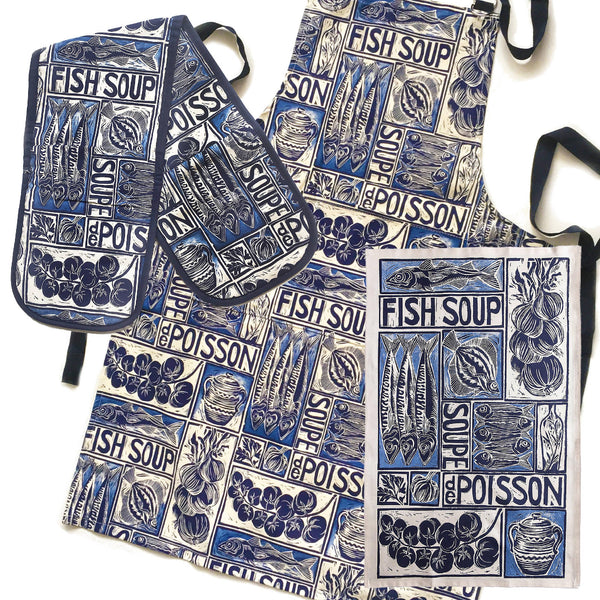 Illustrated Recipe Gift Set - Organic Cotton Tea Towel, Apron and Oven Gloves
