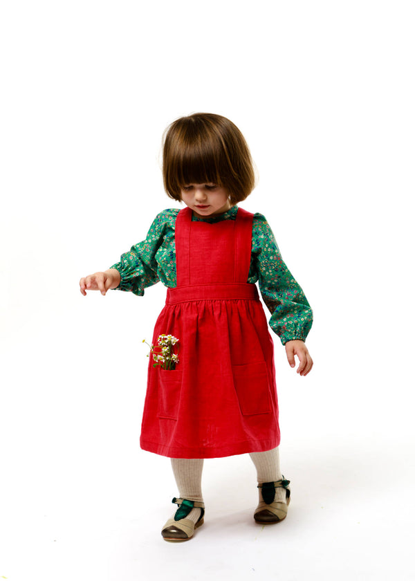 "Red Linen Pinafore Dress - ""Isabel"""