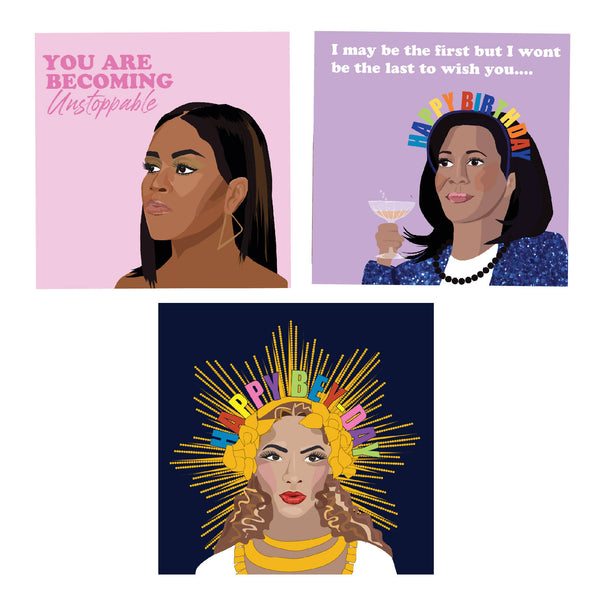 Inspirational Empowering Women Pack of 3 Blank Cards | Michelle Obama | Kamala Harris | Beyonce