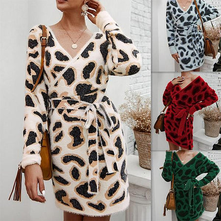 Women Sexy Long Sleeve V Neck Slim Fit Leopard Pattern Knitted Dress