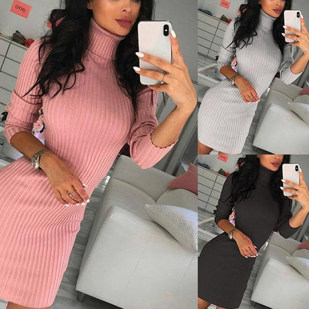 Women's Sexy Turtleneck Slim Long Sleeve Bodycon Knitted Dress