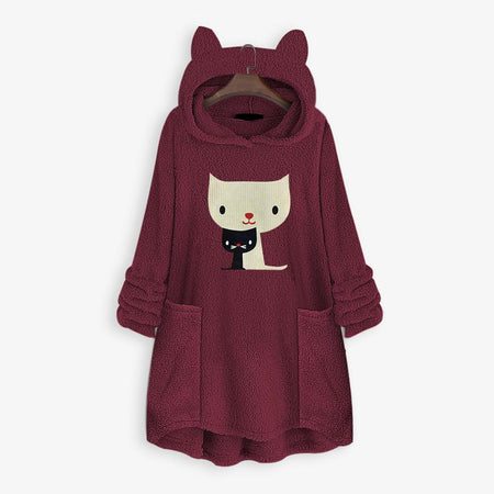 Embroidery Cat Double Sided Velvet Irregular Coats