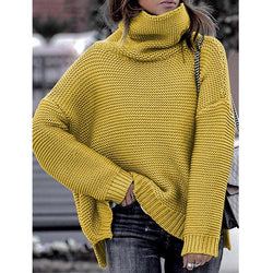 Fashion High Collar Off-the-shoulder Casual Sweater