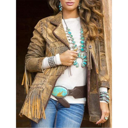 Fashion Turndown Collar Tassel Jackets