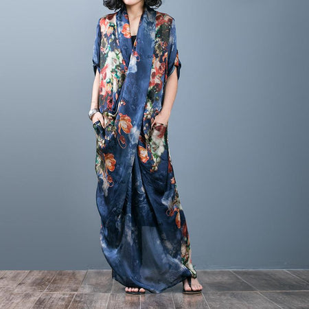 Autumn Loose Printed Women's Maxi Dress Suspender Skirt Two-piece Suit
