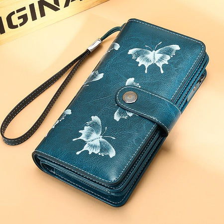 Women Casual Butterfly RFID Protection Long Wallet