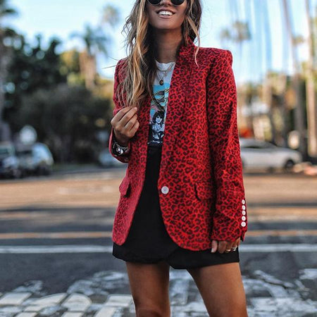 Lapel Leopard Print Button Small Coat