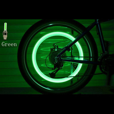 Bicycle LED Light Tire Valve Cap Wheel Neon Lamp Cover Wheel-2pcs