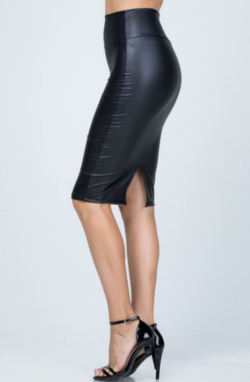 Diana Faux Leather Pencil Skirt By SAM D'MONES