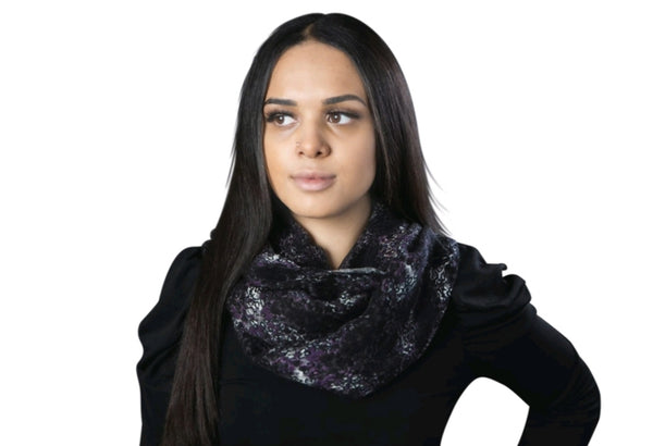 Purple/Black Cheetah Infinity Scarf By SAM D'MONES