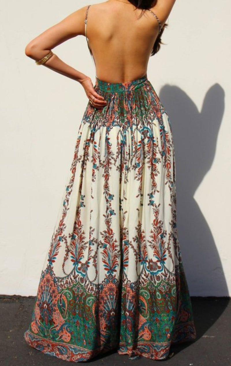 Mia Open Back Printed Dress