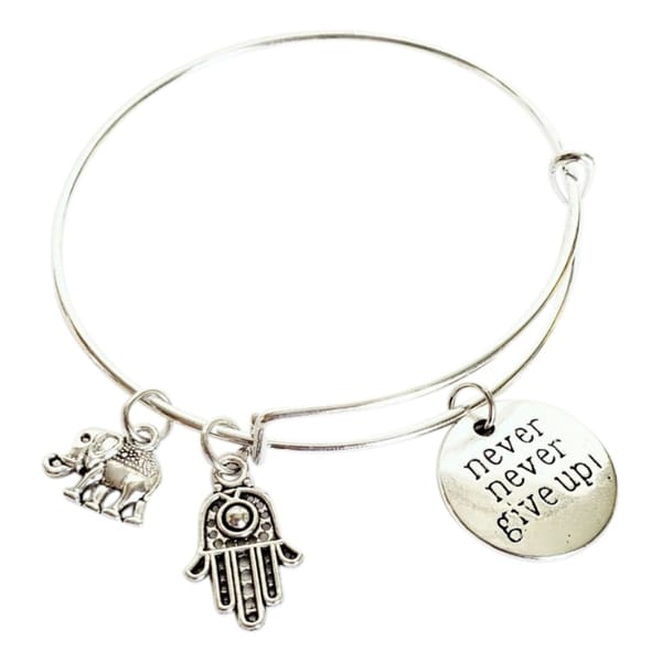 Never Never Give Up Hand-Eye Charm Bracelet