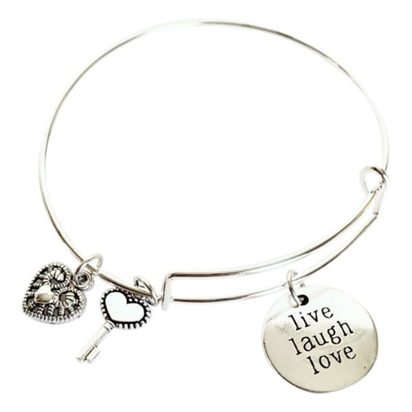 Live, Love, Laugh Charm Bracelet - Heart and Key