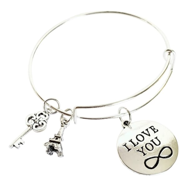 I Love You Eiffel Tower and Key Charm Bracelet