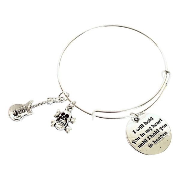 I Will Hold You In My Heart Until I Hold You In Heaven Charm Bracelet - Guitar & Skull