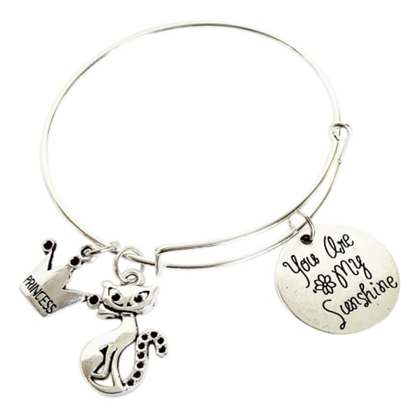 You Are My Sunshine Princess Cat Charm Bracelet