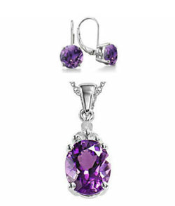 Purple Amethyst Pendant and Earrings Set
