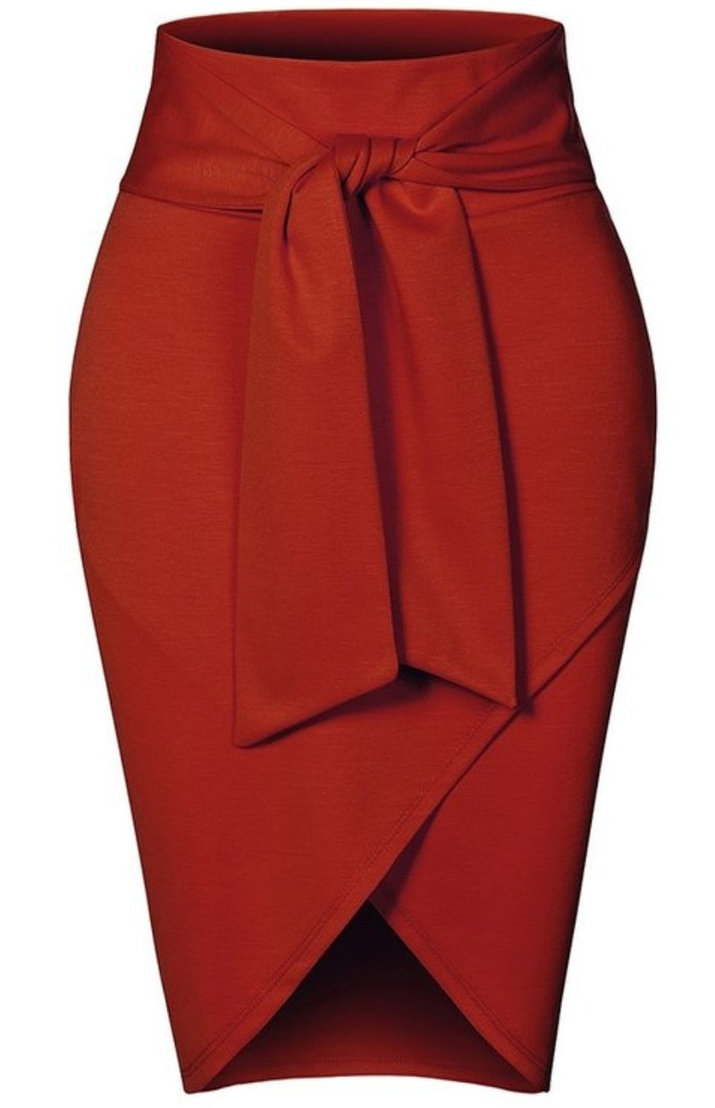 Wrap Tie Pencil Skirt