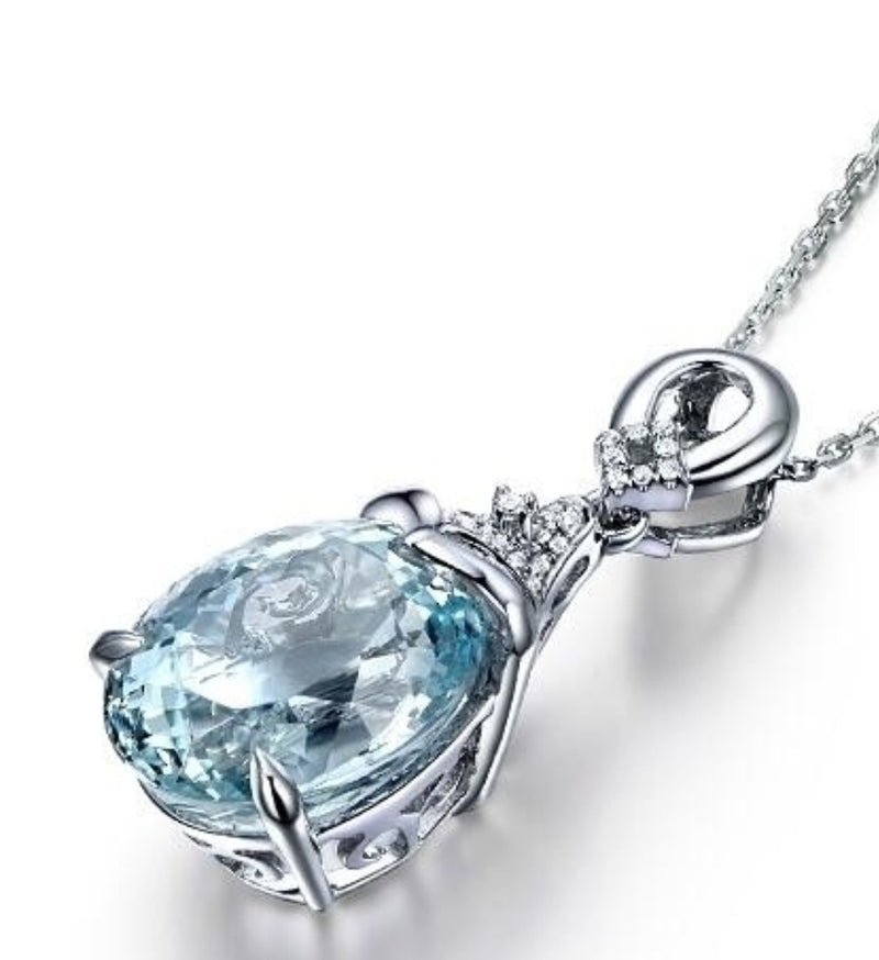 Pear Shape Vintage Aquamarine Necklace