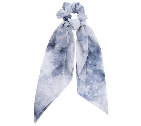 Blue/White Tie-Dye Scrunchie Scarf